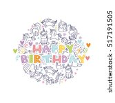 happy birthday with unicorns... | Shutterstock .eps vector #517191505