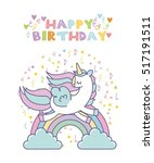 happy birthday card with cute... | Shutterstock .eps vector #517191511