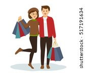 young couple shopping for... | Shutterstock .eps vector #517191634