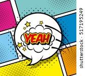 speech bubble with yeah word... | Shutterstock .eps vector #517195249