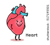 cute and funny human heart... | Shutterstock .eps vector #517195501