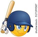 baseball batter or hitter... | Shutterstock .eps vector #517199587