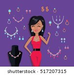 beautiful woman with jewelry... | Shutterstock .eps vector #517207315