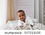 adorable little african... | Shutterstock . vector #517213135