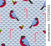 seamless pattern with bullfinch ... | Shutterstock .eps vector #517225021