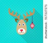 vector reindeer face christmas... | Shutterstock .eps vector #517227271