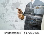 double exposure of a business... | Shutterstock . vector #517232431
