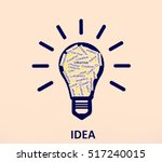 idea comes from creativity.  | Shutterstock . vector #517240015