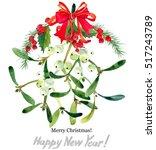 watercolor mistletoe wreath....   Shutterstock . vector #517243789