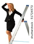 business woman climbing a ladder - stock photo