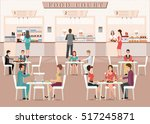 people eating in a food court... | Shutterstock .eps vector #517245871
