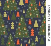 seamless christmas pattern | Shutterstock .eps vector #517248379