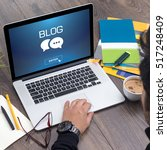 showing blog concept on screen | Shutterstock . vector #517248409