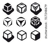 Ice Cube Black Symbols Vector