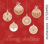 vintage card with christmas... | Shutterstock .eps vector #517254901