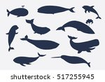 Sea Whale Vector Silhouette Set