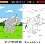 cartoon elephant coloring book | Shutterstock .eps vector #517282771