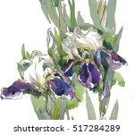 White Violet Three Irises...