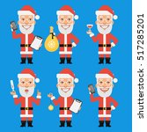 santa claus holding thermometer ... | Shutterstock .eps vector #517285201