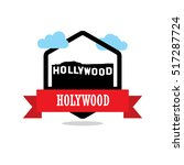 hollywood ribbon banner with... | Shutterstock .eps vector #517287724