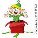 happy elf popping out of a... | Shutterstock .eps vector #517292767