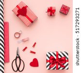 gift boxes wrapped in red... | Shutterstock . vector #517293271