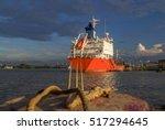 oil tanker at river side is... | Shutterstock . vector #517294645