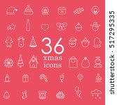 christmas vector line icon set | Shutterstock .eps vector #517295335