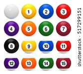 set of billiard balls. 3d... | Shutterstock . vector #517299151