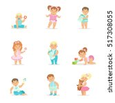 adorable smiling babies and... | Shutterstock .eps vector #517308055
