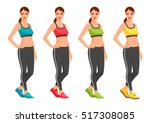 fit young woman in sportswear.... | Shutterstock .eps vector #517308085