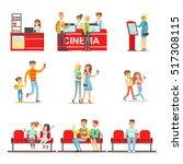 happy people in cinema theatre  ... | Shutterstock .eps vector #517308115