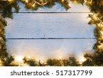 christmas wood background with... | Shutterstock . vector #517317799