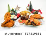 christmas food party with fried ...   Shutterstock . vector #517319851