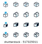 simple set of box and crates... | Shutterstock .eps vector #517325011