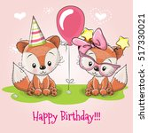 greeting card two cute cartoon... | Shutterstock .eps vector #517330021