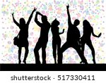 dancing people silhouettes.... | Shutterstock .eps vector #517330411