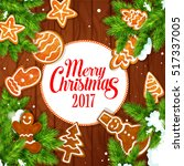 merry christmas 2017 vector... | Shutterstock .eps vector #517337005