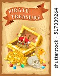 pirate treasure poster with... | Shutterstock .eps vector #517339264