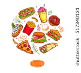 fast food isolated colorful... | Shutterstock .eps vector #517340131