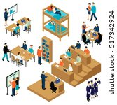 colored 3d education isometric... | Shutterstock .eps vector #517342924
