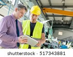 supervisor and manual worker... | Shutterstock . vector #517343881