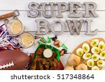 snacks for watching a football...   Shutterstock . vector #517348864