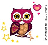 cute funny owl. forest bird... | Shutterstock .eps vector #517349041