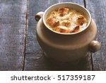 onion soup in the ceramic pot...