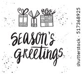 christmas card template. hand... | Shutterstock .eps vector #517368925