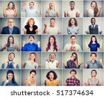 group of multicultural... | Shutterstock . vector #517374634