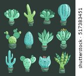 cute cartoon cacti and... | Shutterstock .eps vector #517383451