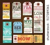 retro baggage tags. vector... | Shutterstock .eps vector #517389361