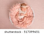 sweet newborn girl in white... | Shutterstock . vector #517399651